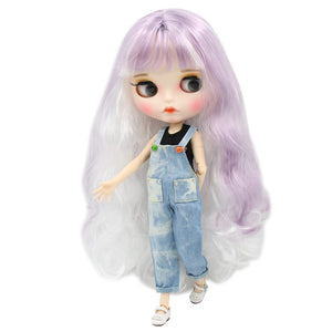 ICY factory blyth doll 1/6 bjd white skin joint body purple white hair new matte face Carved lips with eyebrow customized face