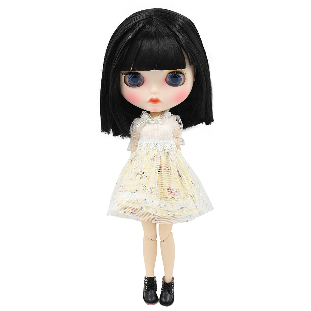 ICY factory blyth doll 1/6 bjd white skin joint body short black hair, new matte face Carved lips with eyebrows, doll with ears