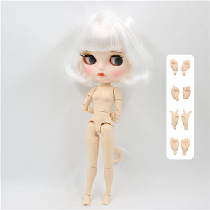 ICY factory blyth doll 1/6 bjd white skin joint body short white hair, new matte face Carved lips with eyebrow 30cm BL136