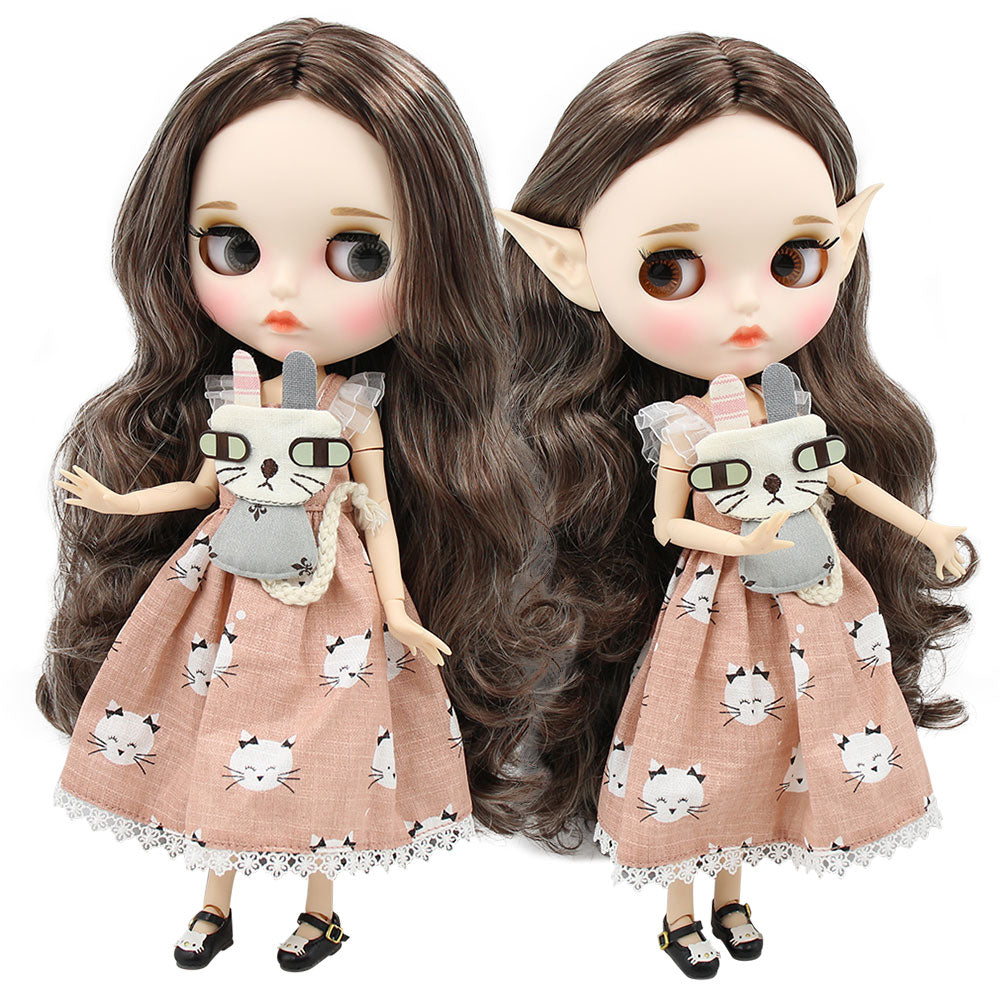 ICY factory blyth doll 1/6 bjd white skin joint body silver mix brown hair, new matte face Carved lips customized face 30cm