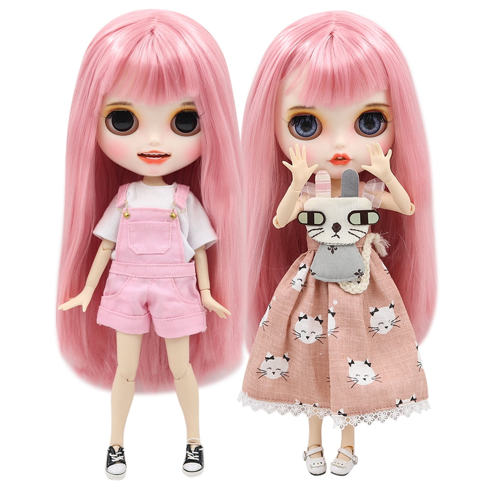 ICY factory blyth doll 1/6 bjd white skin joint body straight pink hair with bangs, new matte face with teeth, 30cm BL6022