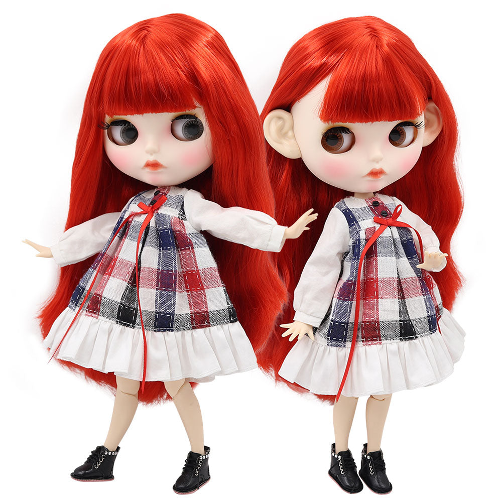 ICY factory blyth doll 1/6 bjd white skin joint body straight red hair, new matte face customized face BL0115