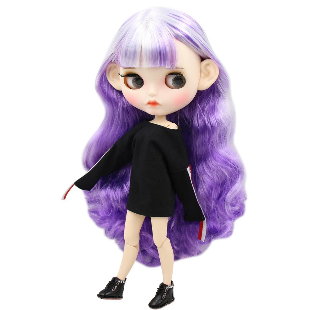 ICY factory blyth doll 1/6 bjd white skin joint body white and purple hair, new matte face Carved lips with eyebrow 30cm
