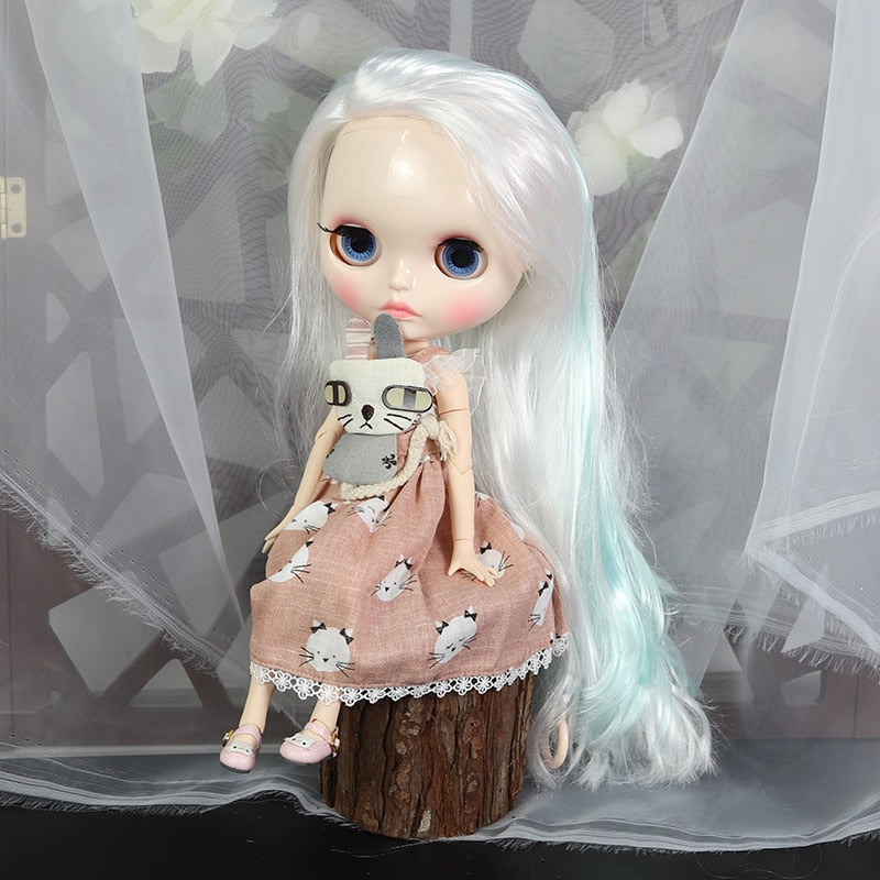 ICY factory blyth doll 1/6 bjd white skin joint body white mix blue hair, new shiny face Carved lips BL136/6909