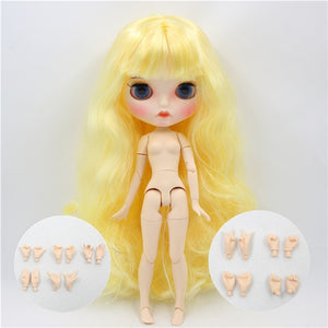 ICY factory blyth doll 1/6 bjd white skin joint body yellow hair, new matte face Carved lips with eyebrow customized face