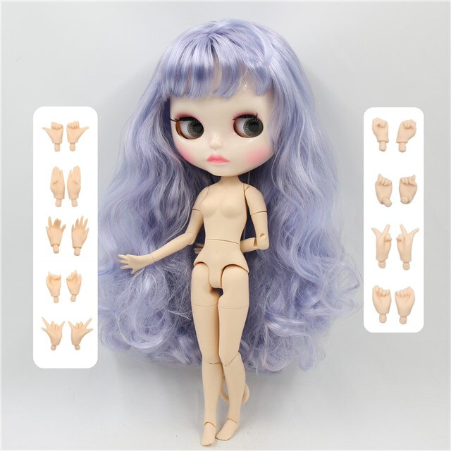 ICY factory blyth doll BL6005/1049 blue mix violet hair, new shiny face carven lips, white skin joint body 30cm 1/6