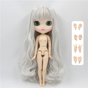 factory Blyth Doll bjd joint body white skin new matte face gray hair with bangs 30cm BL1003