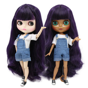 factory blyth doll 1/6 bjd 280BL169 Deep Purple Hair dark/white skin joint body gift 1/6 30cm