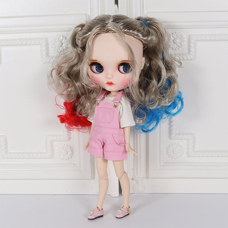 factory blyth doll 1/6 bjd joint body white skin Harley Quinn Carved lips Matte face with eyebrow customized face makeup face
