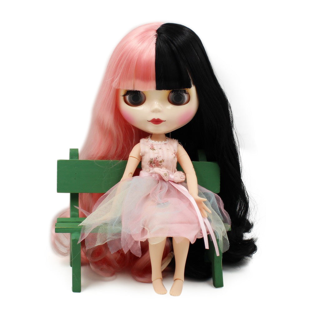 factory blyth doll 1/6 bjd white skin joint body BL1010/117 pink and black hair melanie martinez hair 30cm