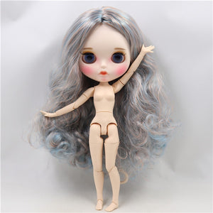 factory blyth doll 1/6 bjd white skin joint body blue mix golden hair new matte face Carved lips with eyebrow customized face