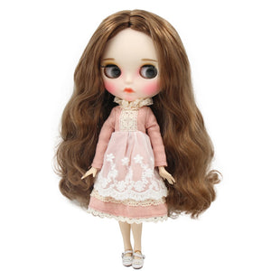 factory blyth doll 1/6 bjd white skin joint body brown hair, new matte face Carved lips with eyebrow, customized face BL9158