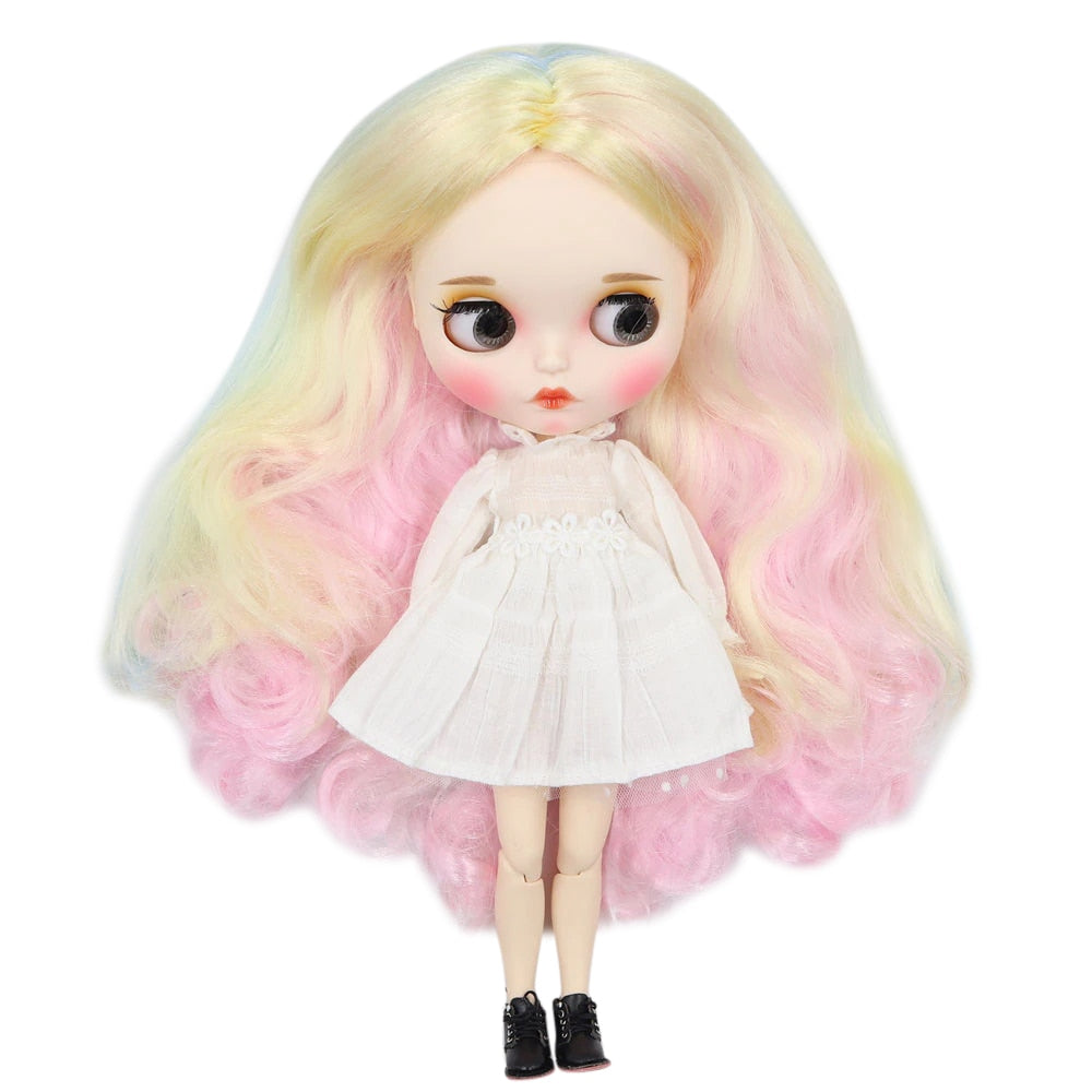factory blyth doll 1/6 bjd white skin joint body colorful hair new matte face, Carved lips with eyebrow customized face