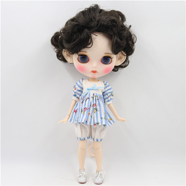 factory blyth doll 1/6 bjd white skin joint body deep brown black hair, new matte face Carved lips with eyebrow customized face
