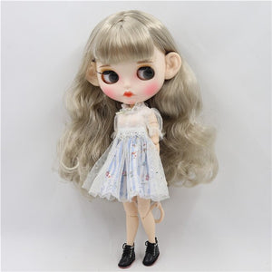factory blyth doll 1/6 bjd white skin joint body gray silver hair new matte face Carved lips with eyebrow customized face BL3167