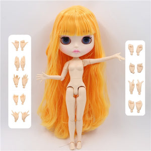 factory blyth doll 1/6 bjd white skin joint body mango hair, new matte face Carved lips with eyebrow customized face BL0577