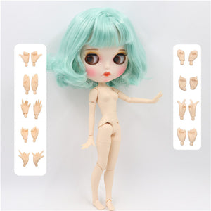 factory blyth doll 1/6 bjd white skin joint body mint green hair new matte face Carved lips with eyebrow, customized face BL4006