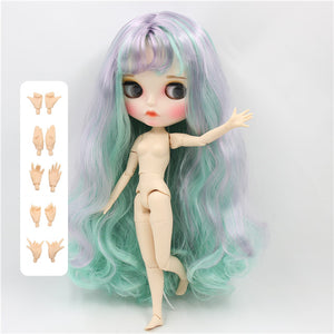 factory blyth doll 1/6 bjd white skin joint body mix hair, new matte face Carved lips with eyebrow, customized face BL1049/4006