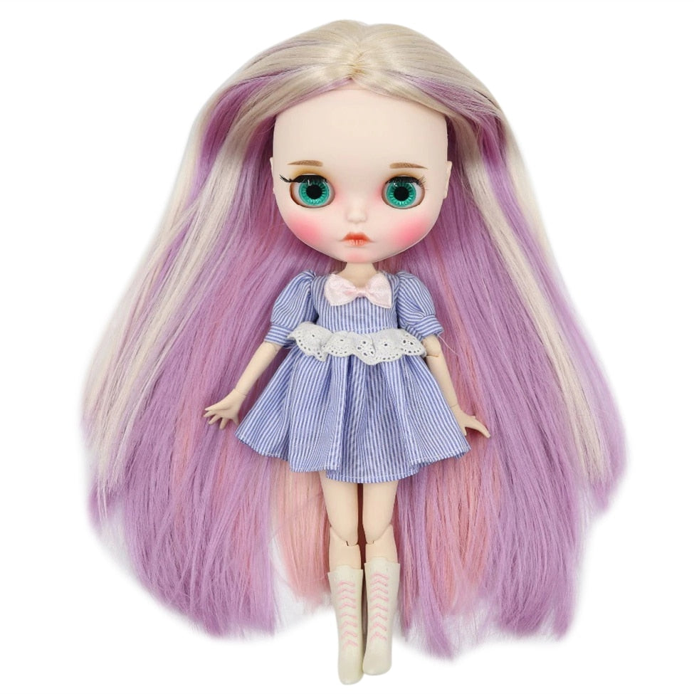 factory blyth doll 1/6 bjd white skin joint body, new matte face Carved lips with eyebrow customized face, 30cm BL6025/2137/6122