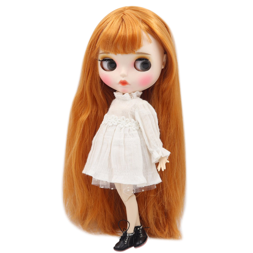 factory blyth doll 1/6 bjd white skin joint body orange hair new matte face Carved lips with eyebrow, customized face, oily hair
