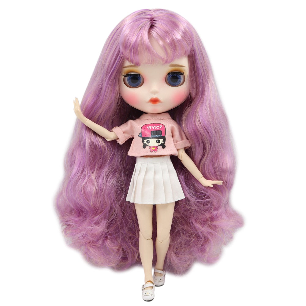 factory blyth doll 1/6 bjd white skin joint body pink mix hair, new matte face Carved lips with eyebrow, customized face, 30cm