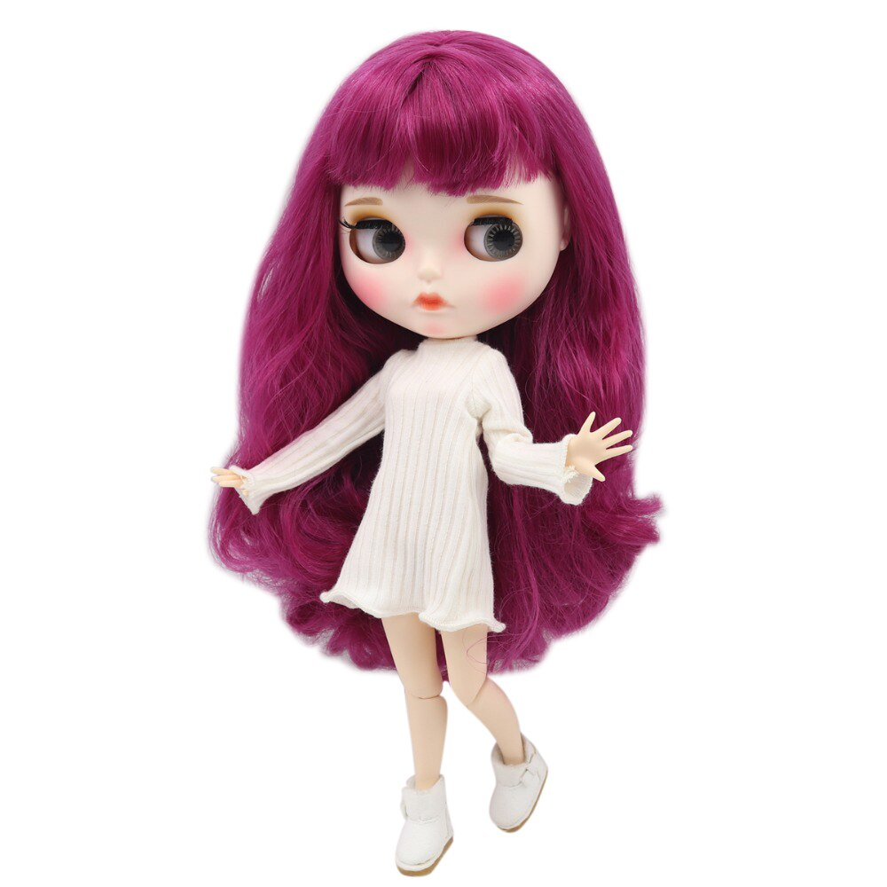 factory blyth doll 1/6 bjd white skin joint body purple hair, new matte face Carved lips with eyebrow customized face BL1291