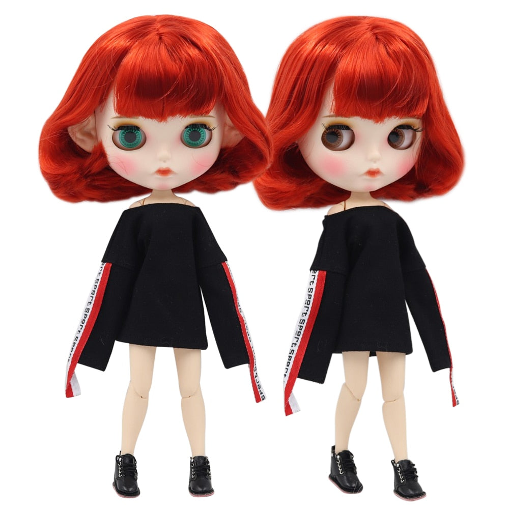 factory blyth doll 1/6 bjd white skin joint body short red hair, new matte face Carved lips with eyebrow customized face BL1248