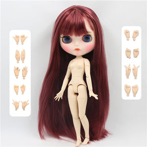 factory blyth doll 1/6 bjd white skin joint body straight hair new matte face Carved lips eyebrow, customized face, 30cm BL12532