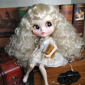 factory blyth doll 1/6 bjd white skin joint body white silver hair, new matte face Carved lips with eyebrow customized face