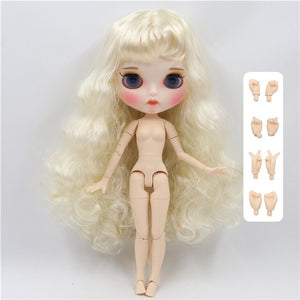 factory blyth doll 1/6 bjd white skin joint body white sliver hair, new matte face Carved lips with eyebrow customized face