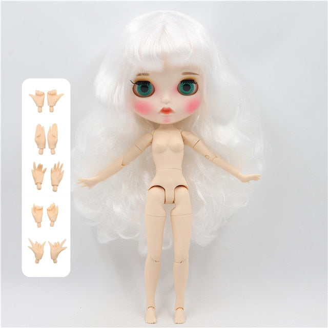 factory blyth doll 1/6 bjd white skin joint body white wavy hair new matte face Carved lips with eyebrow customized face BL136