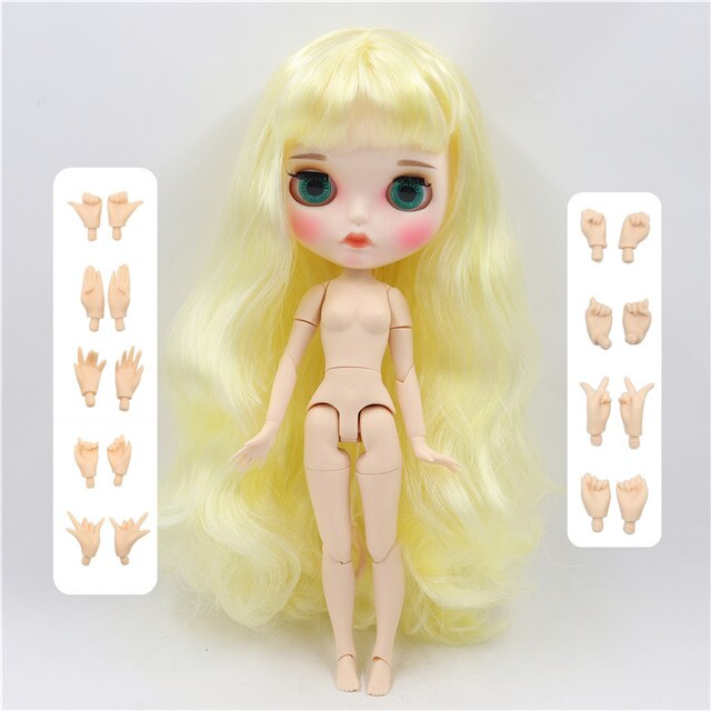 factory blyth doll 1/6 bjd white skin joint body yellow hair, new matte face Carved lips with eyebrow customized face, BL1200