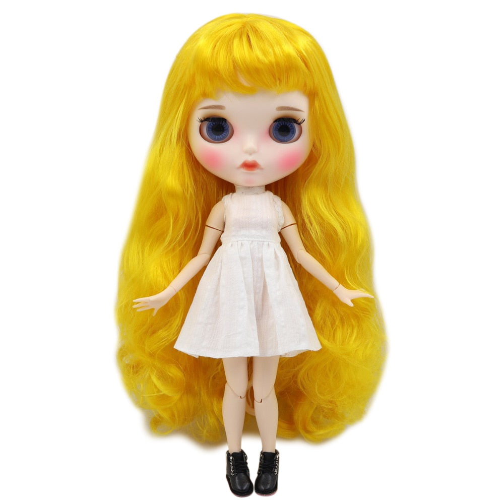 factory blyth doll 1/6 bjd white skin joint body yellow hair, new matte face Carved lips with eyebrow customized face BL3038