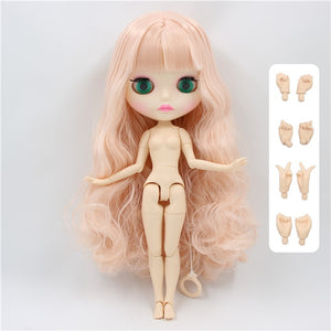 factory blyth doll 280BL2352 pale pink hair shiny/matte face new faceplate lips carves white skin joint body 30cm 1/6 girl gift