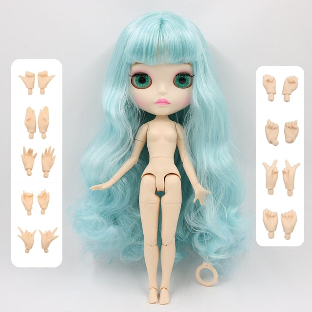 factory blyth doll 280BL4006/6005 blue Hair white skin matte face joint body gift 1/6 30cm
