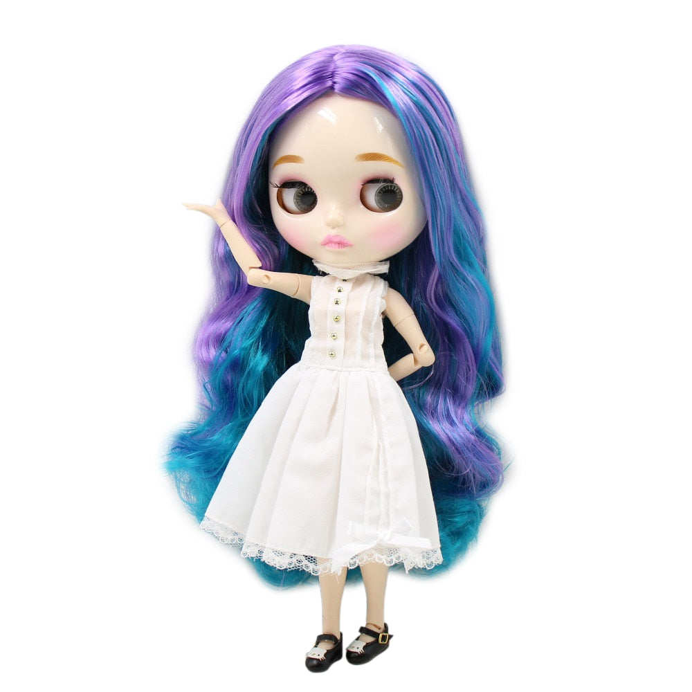 factory blyth doll 280BL4302/7216 purple and blue hair shiny face new faceplate lips carves white skin joint body 30cm 1/6