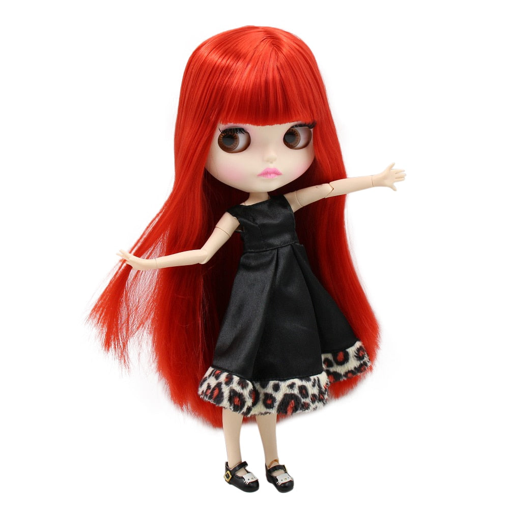 factory blyth doll BL0115 straight red hair matte face new faceplate lips carves white skin joint body 30cm 1/6