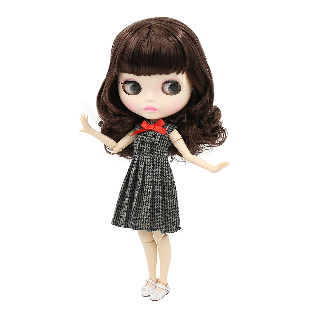 factory blyth doll BL0312 brown hair with bangs matte face new faceplate lips carves white skin joint body 30cm 1/6