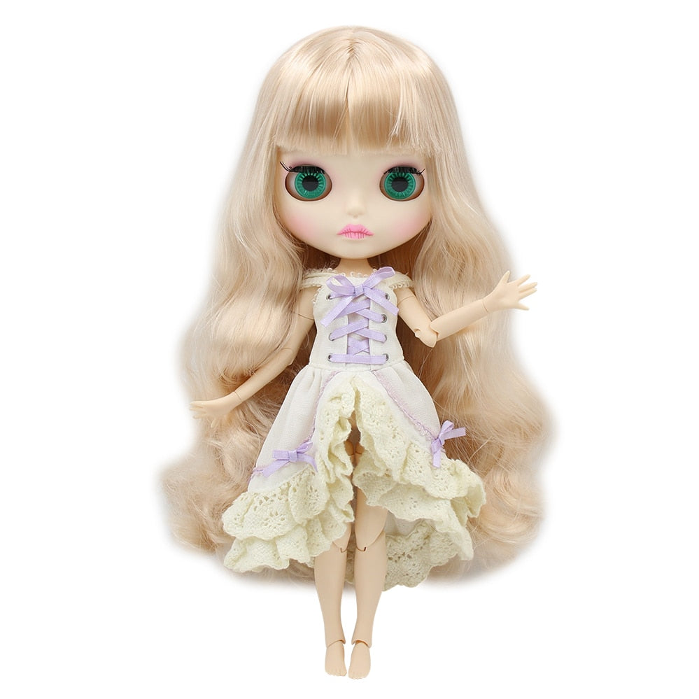 factory blyth doll BL1010 golden blonde hair matte face new faceplate lips carves white skin joint body 30cm 1/6, girl gift