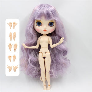 factory blyth doll BL1049/2352/1049 violet and pink and violet hair, new matte face eyebrow carven lips white skin joint body