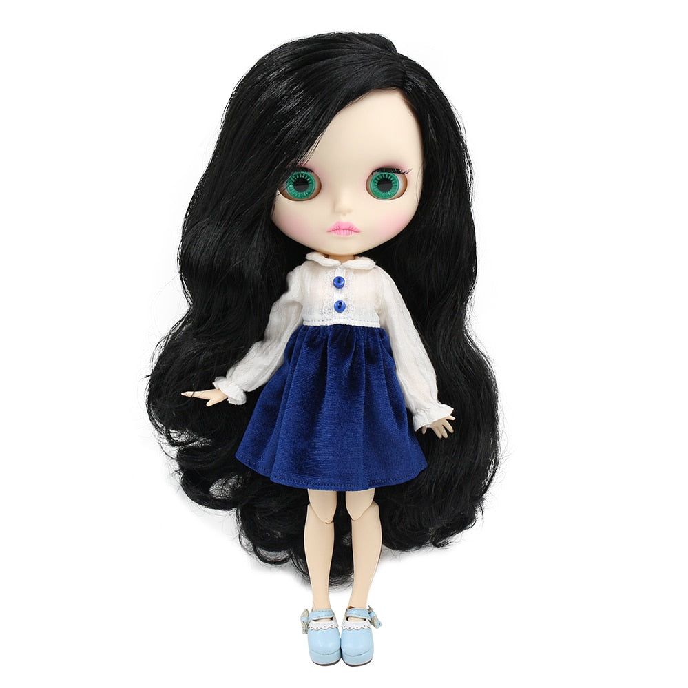 factory blyth doll BL117 black hair side parting matte face new faceplate lips carves white skin joint body 30cm 1/6