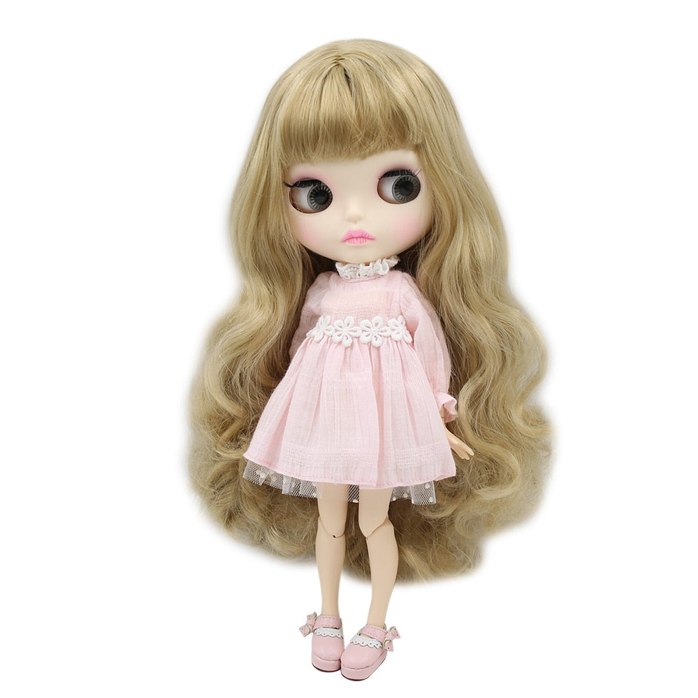 factory blyth doll BL3227 blonde golden hair matte face new faceplate lips carves white skin joint body 30cm 1/6