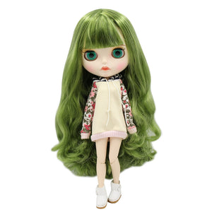 factory blyth doll BL4299/42038 green mix hair, new matte face with eyebrow carven lips, white skin joint body 30cm 1/6