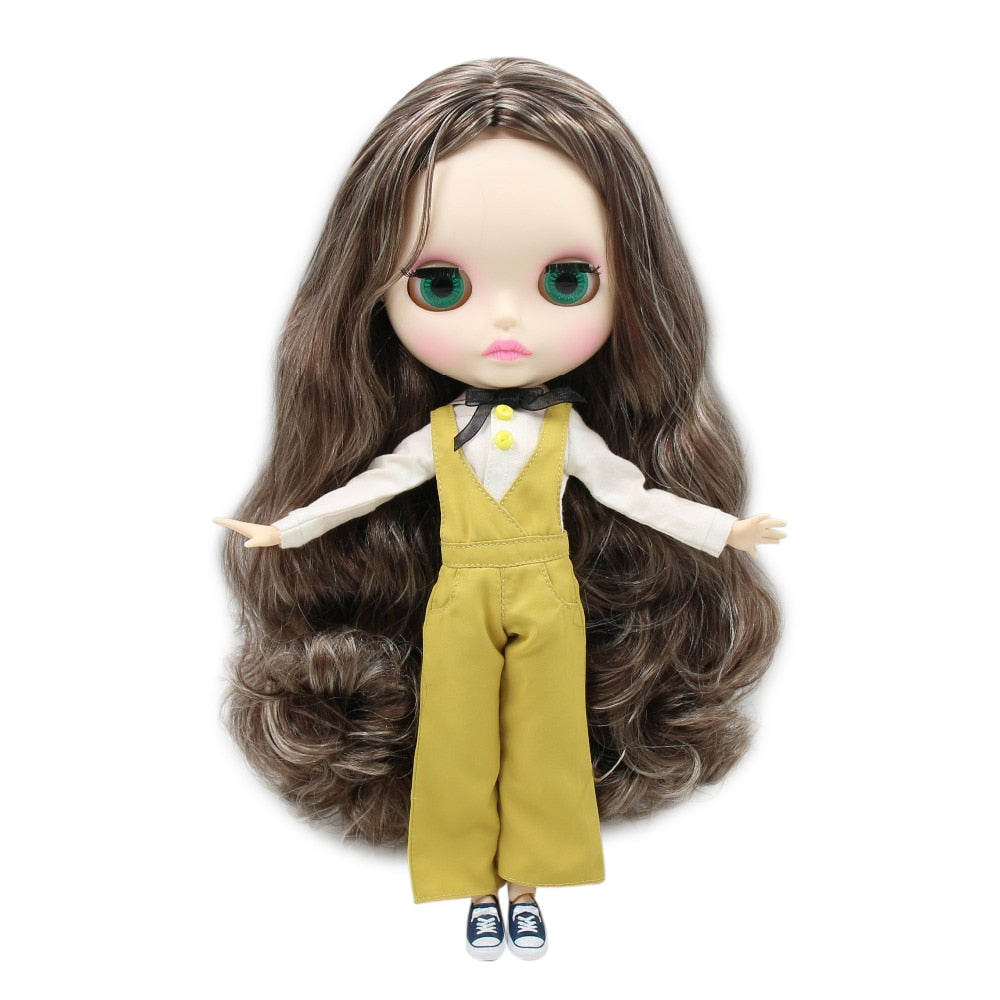 factory blyth doll BL8800/0222 matte face new faceplate lips carves white skin joint body 30cm 1/6