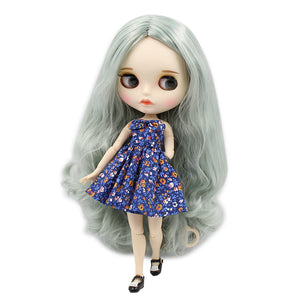 factory blyth doll BL9084/4278 green mix grey hair, new matte face with eyebrow carven lips, white skin joint body 30cm 1/6