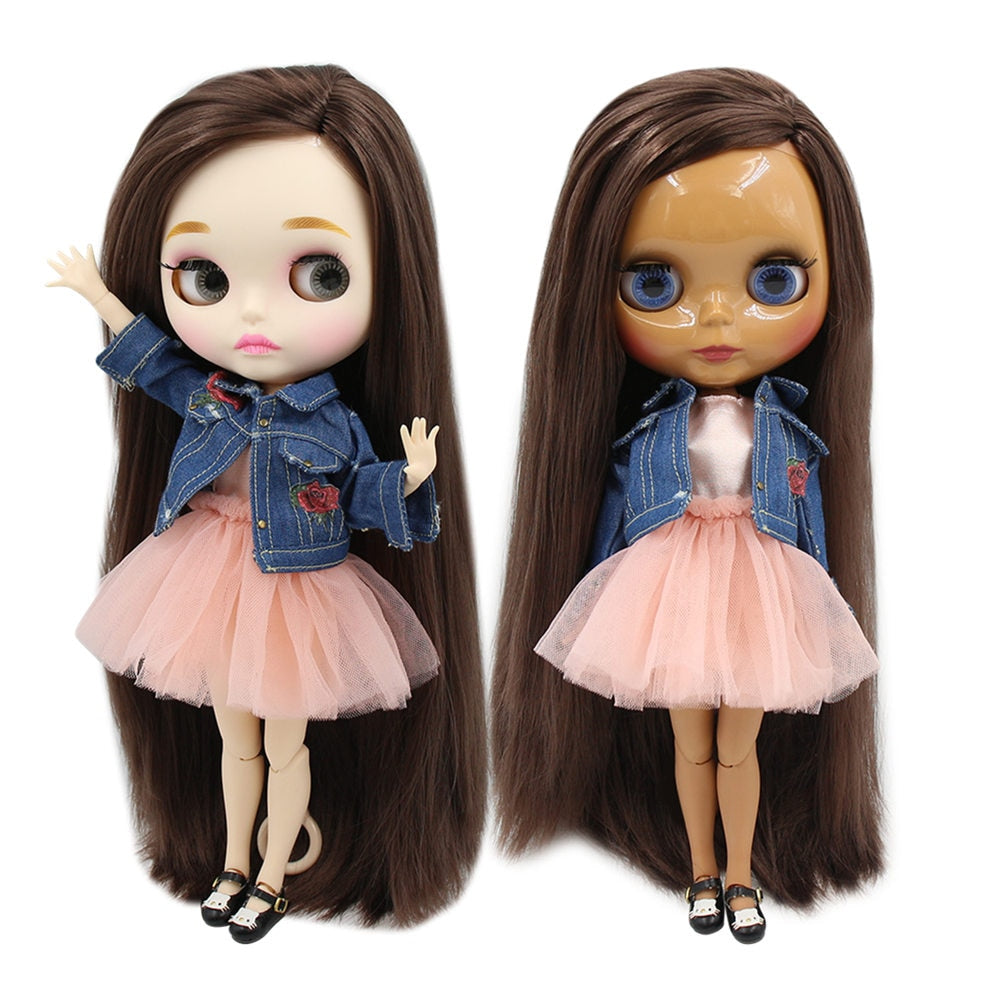 factory blyth doll bjd dark/white skin long straight deep brown hair side parting joint body 30cm 1/6 BL0222