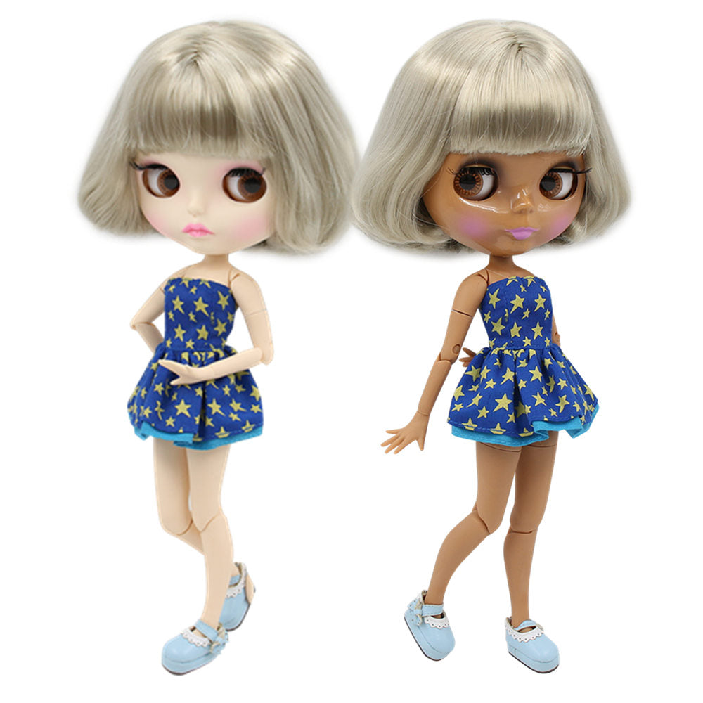 factory blyth doll bl8800 short grey sliver hair dark/white skin joint body 30cm 1/6 special price girl gift