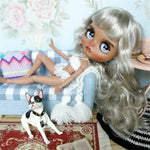 factory blyth doll grey silver platinum blonde hair dark skin joint body 1/6 30cm BL8800