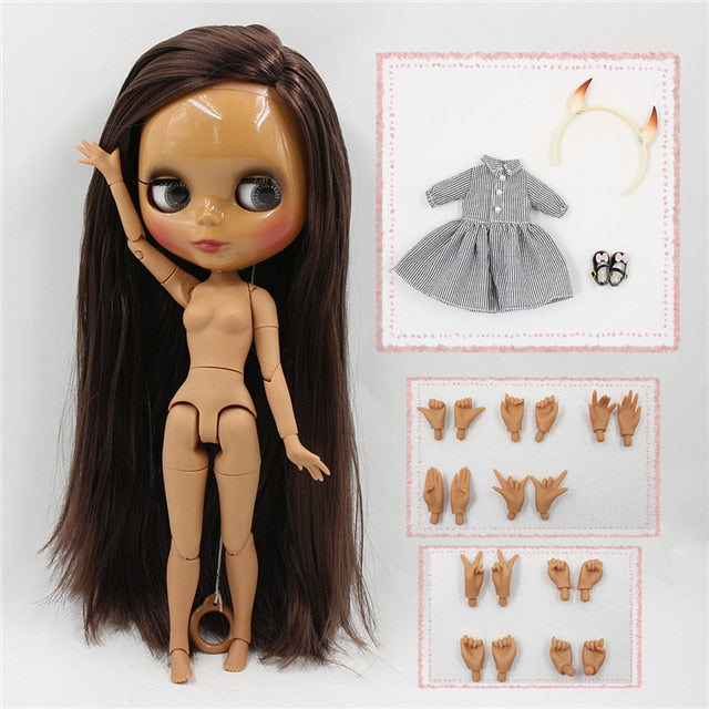 factory blyth doll straight brown hair joint body devil horn, dress, shoes and hands AB combination 1/6 30cm