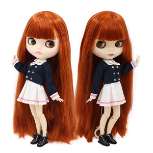 free shipping factory blyth doll 280BL232 red brown Hair white skin joint body matte face girl gift 1/6 30cm
